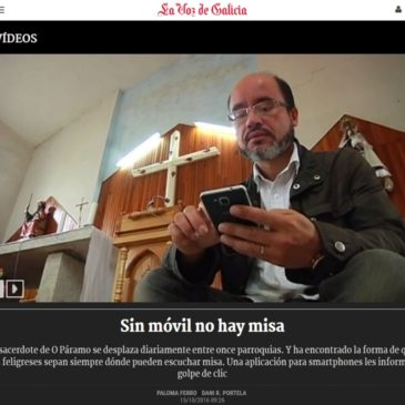 """Reportaxe de V televisión sobre a aplicación para móbiles """"Misas no Páramo"""""""